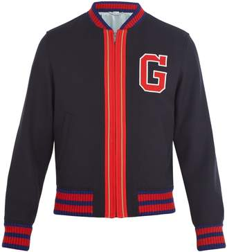 Gucci Logo-appliqué wool bomber jacket