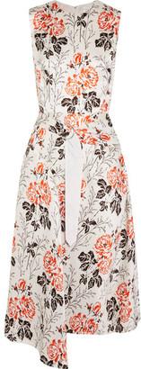 Asymmetric Belted Floral-print Crepon Dress - White