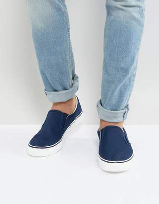 Brave Soul Slip On Sneakers In Navy