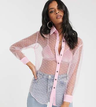 Glamorous sheer shirt in soft spot organza