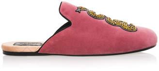 Gucci Snake Embroidered Velvet Slippers