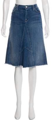 7 For All Mankind Paneled Denim Knee-Length Skirt