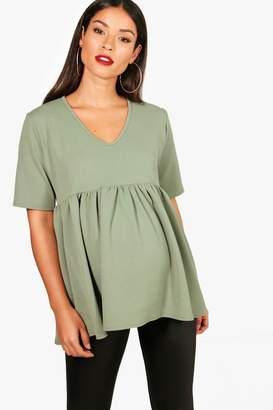 boohoo Maternity Bella Crepe V Neck Smock Top