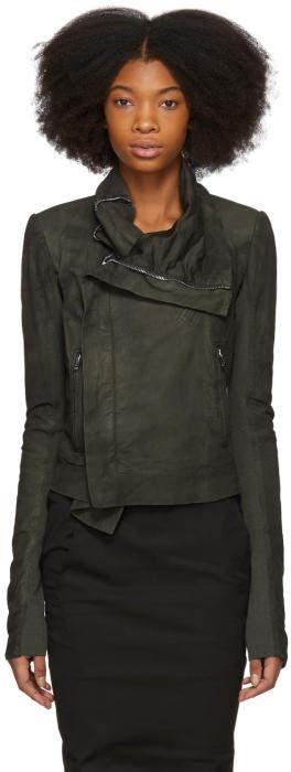Rick Owens Grey Classic Biker Leather Jacket