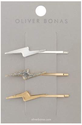 Oliver Bonas Lightning Bolt Metallic Hair Grips Pack of Three