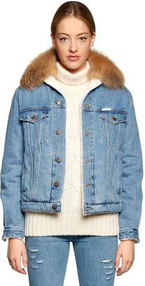 Le Bon Fur & Faux Shearling Denim Jacket