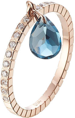 Diane Kordas 18kt Rose Gold Ring with White Diamonds and Blue Topaz