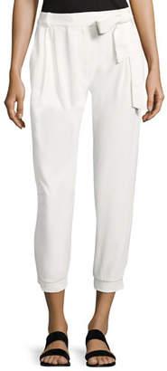 Parker Elliott Mid-Rise Cropped Pants, White