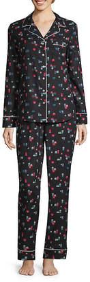 Liz Claiborne Notch Collar Flannel Pajama Set