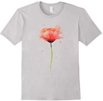 Red Poppy Flower Watercolor T-shirt Abstract Painting Art