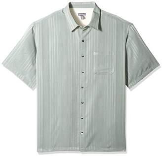 Van Heusen Men's Size Big and Tall Short Sleeve Rayon Poly Engineered Panel Shirt