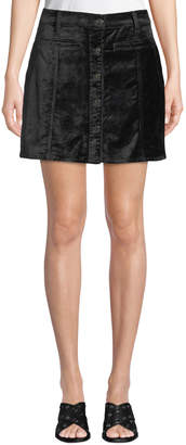 7 For All Mankind Button-Front Velvet Mini Skirt