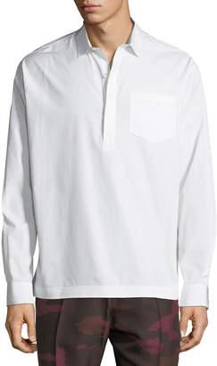 Valentino Men's Poplin Popover Sport Shirt