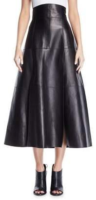 Derek Lam High-Waist A-Line Lamb Leather Skirt w/ Full Hem