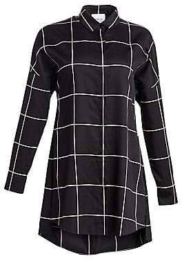 Akris Punto Women's Big Grid Side Slit Tunic Blouse