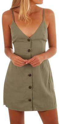 WLLW Women Solid Tie up Back Button Front Spaghetti Strap V Neck Dress Sundress