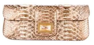 Kara Ross Metallic Python Dea Clutch