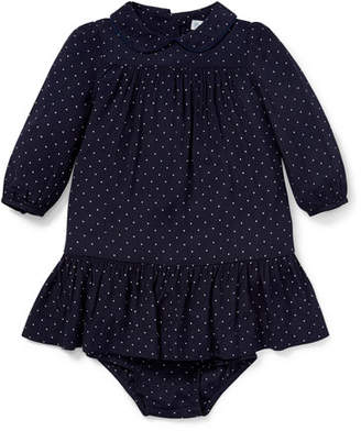 Ralph Lauren Woven Ruffle Dot Dress w/ Bloomers, Size 6-24 Months