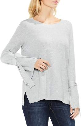 Vince Camuto Texture Stitch Tie-Sleeve Top (Petite)