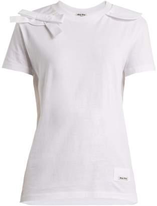 Miu Miu Bow-appliqué cotton T-shirt