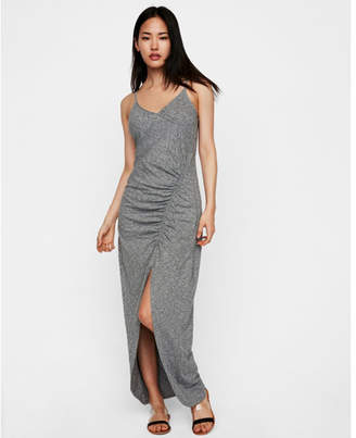Express slub high slit ruched maxi dress