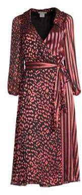 Alice + Olivia Abigail Metallic Leopard& Stripe Stretch Silk Wrap Dress