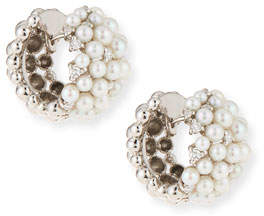 Paul Morelli Lagrange 18K Pearl & Diamond Huggie Earrings