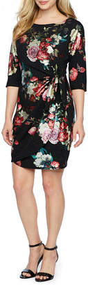 Robbie Bee 3/4 Sleeve Floral Sheath Dress-Petite