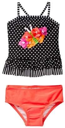 Love U Lots Butterfly Dot Ruffle Tankini Two-Piece Set (Baby, Toddler, Little Girls, & Big Girls)
