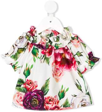 Dolce & Gabbana gathered floral shortsleeved blouse