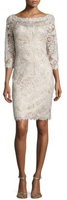 Tadashi Shoji 3/4-Sleeve Lace Cocktail Dress, Gold $430 thestylecure.com