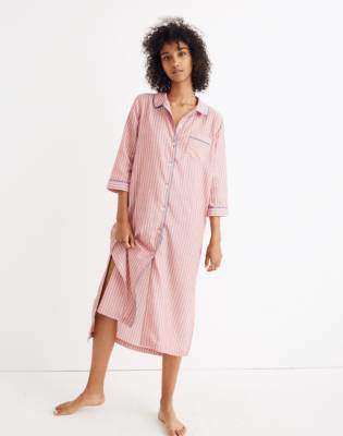 Madewell Bedtime Long Nightshirt in Cranberry Stripe