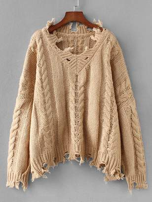 Shein Ripped Trim Cable Knit Sweater