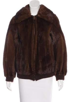 Fur Reversible Mink Bomber Jacket Brown Fur Reversible Mink Bomber Jacket