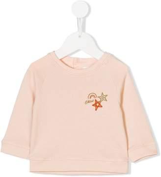 Chloé Kids rainbow star logo embroidered sweatshirt