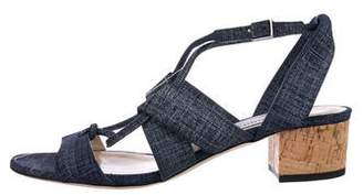 Jimmy Choo Denim Low-Heel Sandals