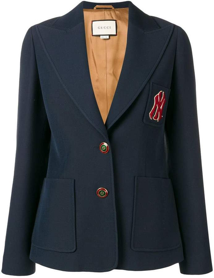 embroidered NY Yankees patch blazer