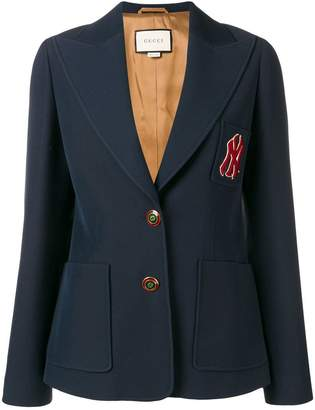 Gucci embroidered NY Yankees patch blazer