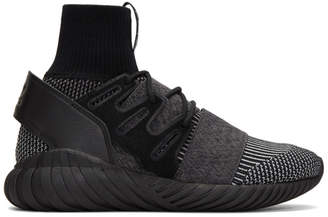 adidas Black and Grey Tubular Doom PK High-Top Sneakers