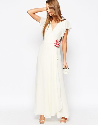 ASOS WEDDING Corsage Wrap Maxi Dress $114 thestylecure.com