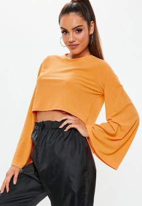 Missguided Orange Ribbed Wide Sleeve Crop Top