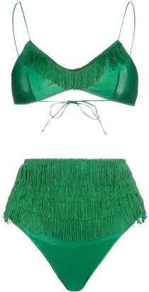 Oseree Charleston high-waisted fringe detail bikini set