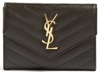 Saint Laurent Monogram Leather Passport Case - Black $525 thestylecure.com