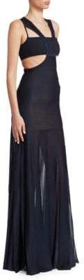 Roberto Cavalli Knit Cut-Out Gown