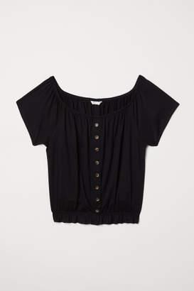 H&M Short Jersey Top - Black