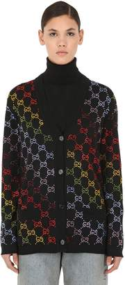 Gucci Rainbow Logo Intarsia Wool Knit Cardigan