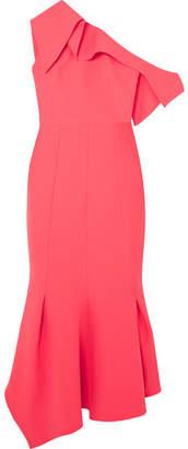 Safiyaa Juniper One-shoulder Paneled Stretch-crepe Midi Dress