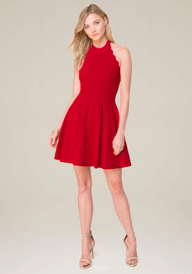 Scallop Trim Halter Dress