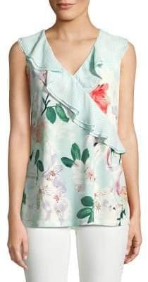 Calvin Klein Floral Ruffle Blouse