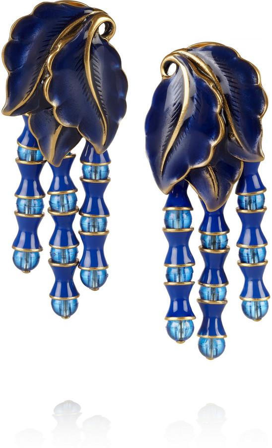 Oscar de la Renta Gold-plated enamel clip earrings